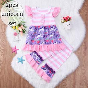 ins unicorno ragazze boutique abiti bambina vestiti bambini abbigliamento bambino flutter manica magliette animali stampati top + pantaloni a strisce volant