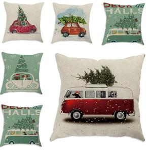 Merry Christmas Jubilation Pillow Case Tree Car Modello Digital Printing Cushion Cover Cartoon Ornament Home Decor Pillowslip 6 8xy ff