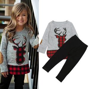 Bebek kızlar Noel elk kafes kıyafetler çocuk Ekose geyik üst + pantolon 2 adet / takım 2018 Sonbahar moda Butik Noel çocuk Giyim Setleri C5175