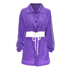 Focal20 уличная женская мода сторона полосатые кнопки топы и эластичные талии юбки из двух частей набор летние причинно-следственные женские наборы