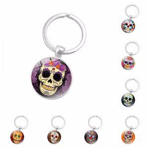 Sugar Candy Skull Head Keyrings Punk style skull pattern key ring Skeleton time gem cabochon keychain
