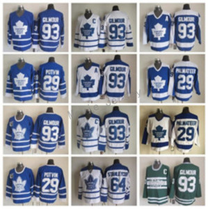 Meilleurs Maillots 93 Doug Gilmour Hommes Maple Leafs de Toronto 64 Stanleycup 29 Felix Potvin 29 Mike Palmateer Hockey Vintage Classic