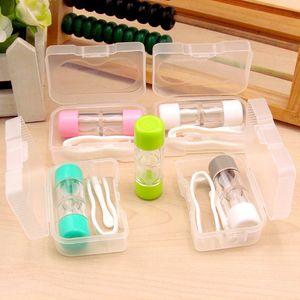 Manual de contactos de la caja de lente de limpieza Lavadora Gafas Cuidado de Lentes de Contacto Colores sostenedor de la botella de almacenamiento del kit de la caja variedad disponible