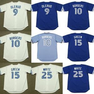 Erkekler 9 JOHN Olerud 10 PAT SINIR 15 Shawn YEŞİL 25 DEVON BEYAZ Toronto 1999 Beyzbol Jersey
