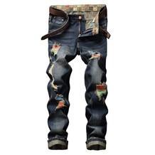 2018 autumn popular men's colorful big hole luxury Jeans Men Jeans Slim Fit straight Denim fat man Pants 5 colors big size 28-42 JB8730
