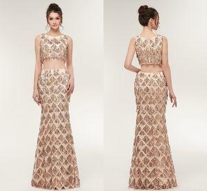 Besondere anlässe luxus gold zwei stücke prom kleider meerjungfrau perlen kristall prom kleider frauen arabisch party dress cps933