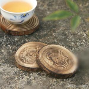 Сосновые подставки мини круглая форма посуда Pad практические теплоизоляция ежегодное кольцо деревянные чашки коврики Эко 2 6CB ZZ