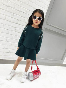 Beading Knitted Girl Clothing Sets Solid Color Long Sleeve Sweater+Skirt 2pcs Outfits Baby Clothes 2-6Y B64