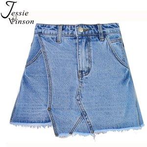 Jessie Vinson mujeres de moda de cintura alta asimétrica de pierna ancha una línea mini pantalones vaqueros falda slim borla de mezclilla pantalones cortos de mezclilla faldas
