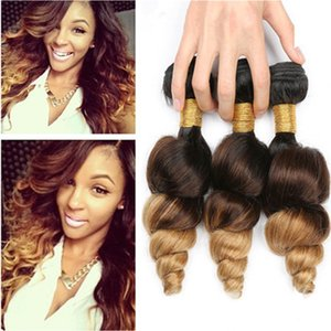 #1B 4 27 Honey Blonde Ombre Brazilian Virgin Human Hair Weave Loose Wave Wavy Hair Wefts Dark Root Three Tone Ombre Bundles Deals