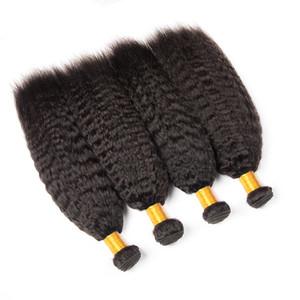 4 paquetes pelo estension brasileño rizado recto grueso yaki virgen cabello humano que teje estilos paquetes de pelo humano de calidad superior