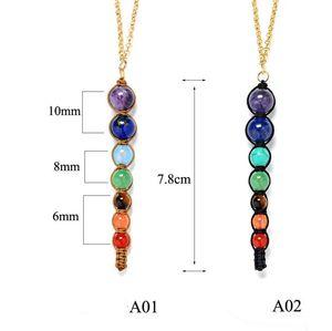 Multicolor Lava 7 Chakra Cura Colar de Contas de Equilíbrio Mulheres Colares Pingentes Reiki Espiritual Yoga Jóias Pingente de Colar