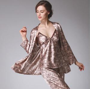 Kadın Pijama Sonbahar Tam Kollu Gecelikler Saten Ipek Pantolon Pijama Setleri Kadınlar 3 Parça Set Iç Çamaşırı Seksi Pijama