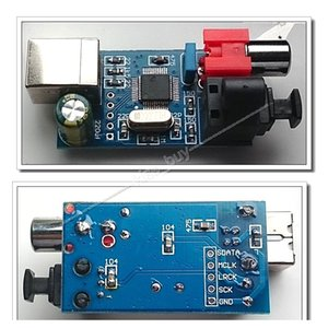 Freeshipping Hifi Digital Placa de Som USB para saída de fonte Coaxial de fibra Óptica I2S / DTS