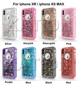 3in1 Glitter Liquid Quicksand Case para el nuevo iphone xr xs max iphone X 8 7 6S Note9 Bling Crystal Robot Defender casos de la cubierta