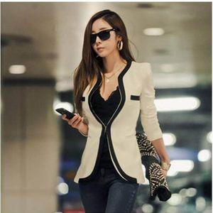 Siyah Beyaz Kadın Kısa Coats Ofis Lady Ceketler Blazers Moda Patchwork İnce Bel Blazer 2018 Yeni İş Elbiseleri