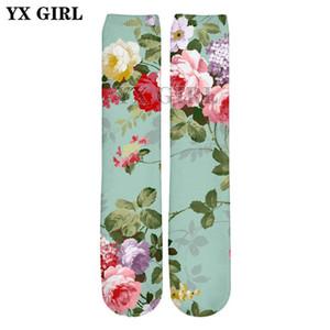 YX GIRL Drop shipping 2018 verão nova moda 3D meias retas estilo retro peônia / rosa impressão homens / mulheres casuais meias ZW60