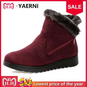 YAERNI Mujeres Botines Nueva Moda Impermeable Plataforma de Cuña Invierno Cálido Botas de Nieve Zapatos Para Mujer