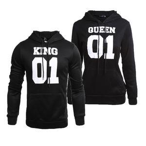 Оптовая 2018 новый стиль королева король печати и осень с капюшоном с длинными рукавами свитер с капюшоном пальто куртки пары платье