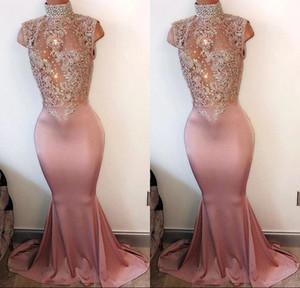 Arabo Mermaid Prom Dresses Prom Dresses 2018 Collo alto senza maniche in rilievo di pizzo Appliqued Satin Prom Gown Donna Evening Party Dress BA4598
