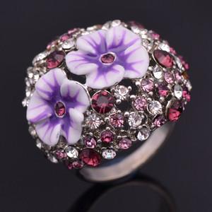 Nuevas mujeres de la llegada joyería de moda cristal de diamante de aleación de flores gotas de aceite anillo de San Valentín regalo de Navidad del festival