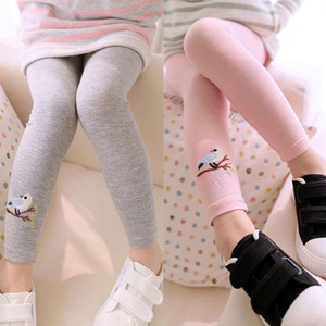 Baby Kids Girls Cotton Pants Embroidery Bird Warm Stretchy Leggings Trousers 2018