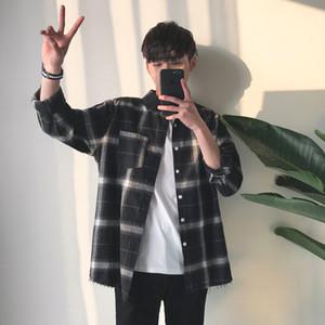 2018 Spring Autumn Men Fashion  INS Hot Vintage Classic Plaid Korea Style Unique Burr Design Shirt Male Casual Loose Shirt