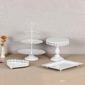 Postre de cristal Cake Stand para boda titular de decoraciones de la fiesta de cumpleaños sin Crystal Metal Iron Magdalena Display Rack nuevo estilo 95ds ZZ