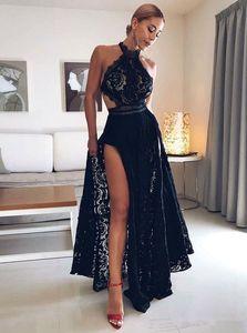 2019 Sexy Black Lace A Line Prom Платья Холтер Шеи Стороне Сплит Длинные Коктейльные Вечерние Платья