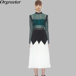 New Self Portrait Dress 2018 Femmes élégantes Voir Bien à manches longues en dentelle plissée en mousseline de soie Robe d'automne Vert Blanc Long Midi