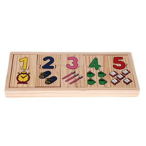Деревянный Количество Counting Puzzle Детские игрушки дошкольный образовательный Math Learning Pattern Matching Numbers головоломки игрушки