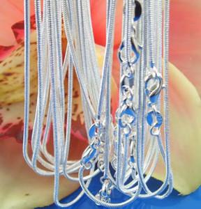Мода твердые стерлингового серебра 925 цепи 5шт 1 мм Мужчины Женщины ожерелье 16-24 дюймов Рождество Новый классический змея ожерелье звено цепи Италия c008