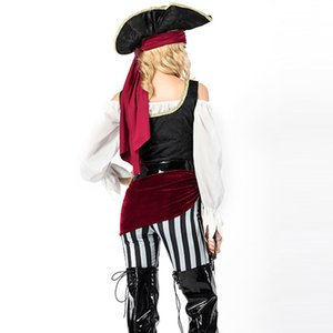 كرنفال الإسبانية القراصنة موضوع حلي مثير العصور الوسطى القرصان ملابس تنكرية مع قبعة حزام هالوين تأثيري الموحدة