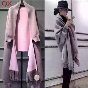 SC2 2017 de gran tamaño doble lado bufanda de invierno de imitación de cachemira poncho mujeres diseñador sólido de manga larga del abrigo de la vendimia chal Y18102010