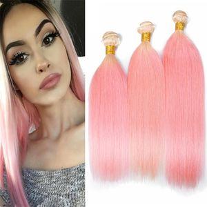 Отбеливатель Блондинка в розовый Ombre волос ткет 3 пучка шелковистые прямые светлые и розовые наращивание волос два тона 613 / розовый Ombre волос утки