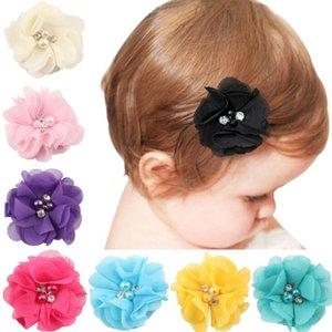 Capelli clip Newborn chiffon fiore capelli delle ragazze del copricapo accessori perla forcine Hairgrips Fiore perno di capelli Accessori 18 colori