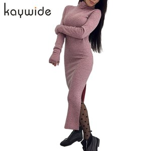 DICLOUD длинные вязаные платья женщины зима водолазка с длинным рукавом твердые Bodycon теплая щель Sexy Wrap платья Festa женский Vestidos