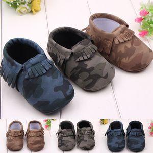 2018 Мода детские искусственные Пу кисточкой камуфляж матовая поверхность рукав набор ног малыша обувь 3 цвета 0-12 месяцев