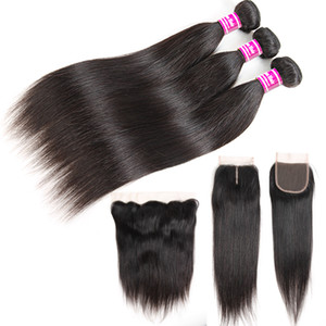 Cheap Straight 8A Brazilian Human Hair Bundles with Frontal 100% Unprocessed Virgin Hair Wefts 3 Weave Bundles with Closure Remy Extensions
