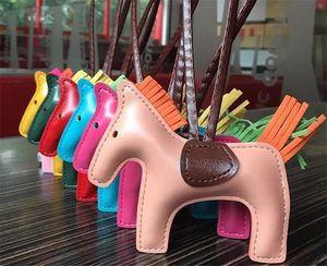 BagCar colgante de gama alta de moda de la mujer hecha a mano linda del bolso de PU llaveros borla del caballo del rodeo del encanto del bolso