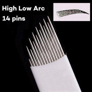 100 STÜCKE 14 Pins nadelklinge permanent make-up nebel augenbrauen tattoo Hohe und Niedrige arc klingen nadeln für manuelle stift microblading