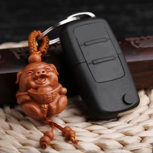 새 도착 천연 나무 조각 돼지 모양의 열쇠 고리 열쇠 고리 홀더 럭키 열쇠 고리 보석 선물