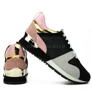 Diseñador de lujo zapatos casuales Rockrunner ocio zapatos hombres mujeres zapatillas de deporte de remiendo transpirables pisos de moda zapatos de deporte gimnasio de gamuza