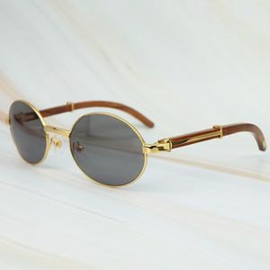 Yuvarlak Metal Clasic Oval Güneş Gözlüğü Tam Çerçeve Altın Genel Ahşap Gözlük Erkekler Ve Wen Gözlük