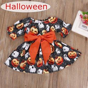 Abóboras de halloween teia de aranha full print meninas orange vestidos de manga comprida crianças orange grande arco cinto preto dress melhor para 1-5 anos