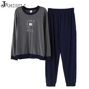 JRMISSLI Pyjamas Set Pour Hommes 100% Coton Casual Lettre O-cou Pyjamas Automne Hiver Long Pyjamas Grande Taille L-XXXL