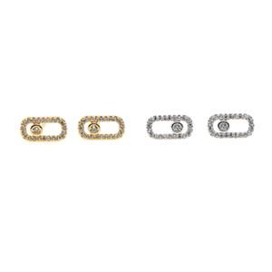 Франция Марка горячие продажи ювелирных изделий пр леди простой cz серьги стержня геометрическая shinny серебряный высокое качество тонкий серьги