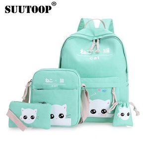 suutoop Cat Backpacks for adolescent teenage girl school bags student drawings Lovely canvas kitty printing cute set pencil case