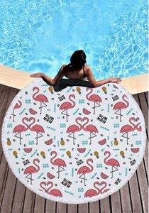 2018 новый стиль моды фламинго 450 г круглый пляжное полотенце с кистями микрофибры 150 см пикник одеяло пляж прикрыть