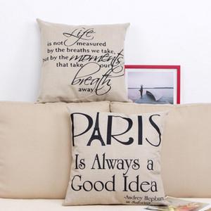 Coussin Taie Paris Coussins vie Couverture coton Linge de bureau Chambre Euro Taie d'oreiller de mariage Home Décor
